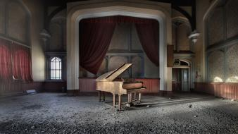 Abandoned house houses piano wallpaper