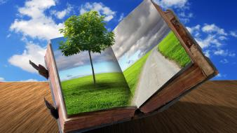 Abstract books roads trees wallpaper