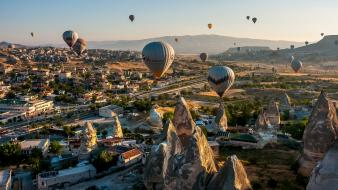Balloons landscapes mountains nature towns wallpaper