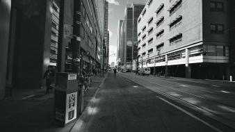 Black and white cities streets wallpaper