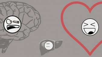Brain faces funny hearts liver wallpaper