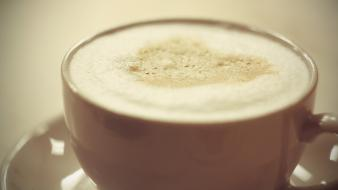 Cappuccino coffee cups foam wallpaper