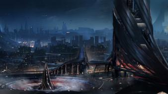 Cityscapes futuristic artwork cities wallpaper