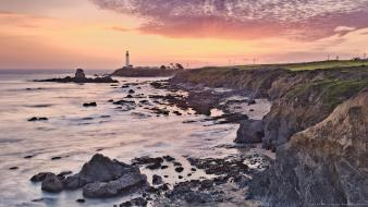 Coast landscapes lighthouses nature rocks wallpaper