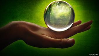 Crystal ball digital art hands playing wallpaper