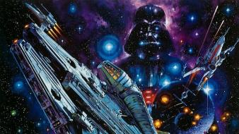 Darth vader death star millennium falcon wars x-wing wallpaper
