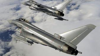 Eurofighter typhoon aircraft air force clouds military wallpaper