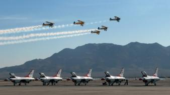 F-16 fighting falcon thunderbirds (squadron) aircraft wallpaper