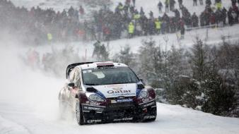 Ford fiesta wrc cars races rally snow Wallpaper