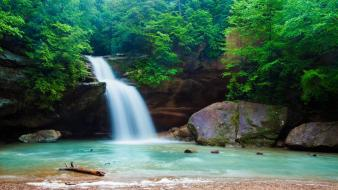 Green river nature waterfalls wallpaper