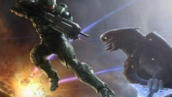 Halo master chief artwork digital art fan wallpaper