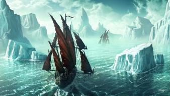 Ice mountain boats wallpaper