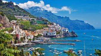 Landscapes mountains positano seaside Wallpaper