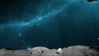 Moon artwork astronauts outer space wallpaper