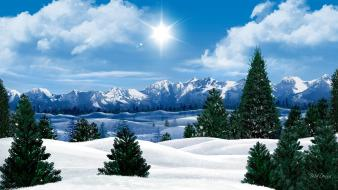 Morning sun clouds landscapes nature snow wallpaper