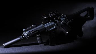 Red dot sight rifles silencer weapons wallpaper