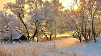 Romania huts landscapes nature snow wallpaper