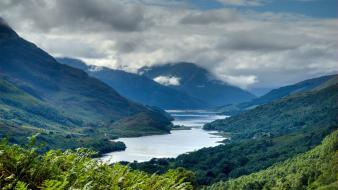 Scotland clouds mountains nature rivers Wallpaper