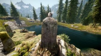 Scrolls v: skyrim grass nature statues trees wallpaper