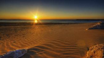Sun beaches sand sea sunrise wallpaper