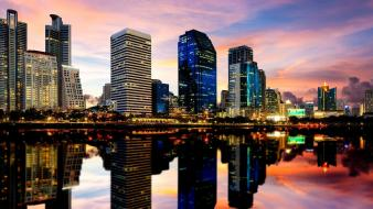 Thailand bangkok cities cityscapes reflections wallpaper