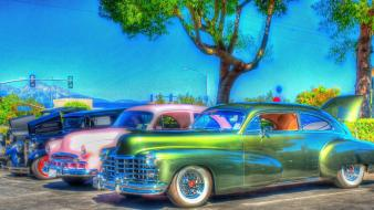 Trees multicolor cars 1970 wallpaper