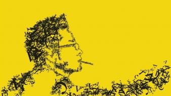 Typographic portrait typography yellow background wallpaper