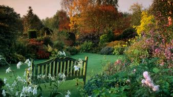 United kingdom autumn cottage garden wallpaper