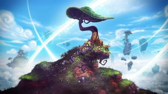 Video games trees skies project spark wallpaper