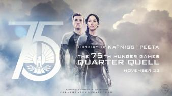 75th catching fire district jennifer lawrence josh hutcherson wallpaper