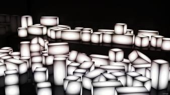 Abstract cubes glowing grayscale wallpaper