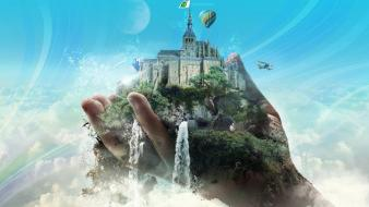 Aircraft castles hands hot air balloons moons Wallpaper