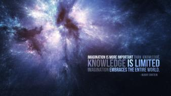 Albert einstein knowledge outer space quotes wallpaper