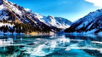 Almaty hdr photography frozen ice lakes wallpaper