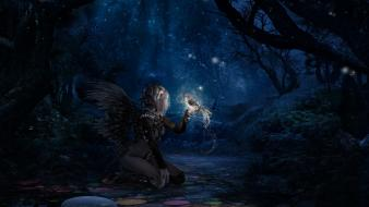 Angels artwork birds fantasy art forests wallpaper