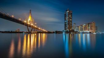 Architecture bridges buildings cityscapes reflections Wallpaper