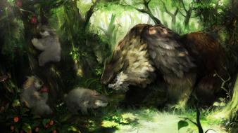 Artwork bears fantasy art owls upscaled wallpaper