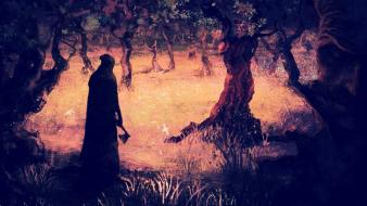 Artwork creepy dark reaper trees wallpaper