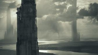 Artwork futuristic tower wallpaper