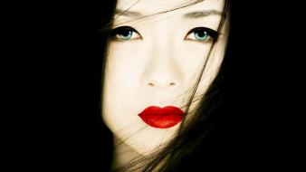 Asians ziyi zhang blue eyes geisha make up wallpaper