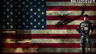 Battlefield 4 usa flags guns helicopters Wallpaper