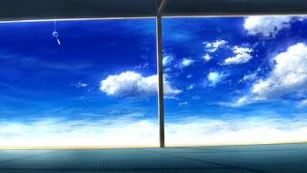 Blue scenic sky window panes wallpaper