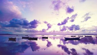 Boats clouds ocean purple sunset wallpaper