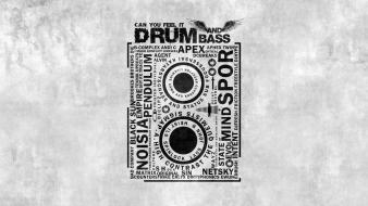 Drum and bass music text wallpaper