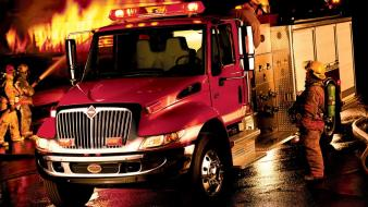 Fire firefighter night pipes trucks wallpaper