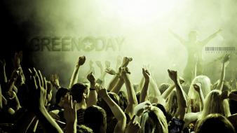 Green day concert crowd music performance wallpaper