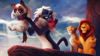 Grumpy cat the lion king tsaoshin artwork disney Wallpaper