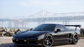 Honda nsx nissan black cars outdoors wallpaper