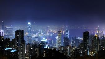 Hong kong cities city lights landscapes night wallpaper