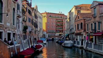 Italy venice blue skies boats buildings wallpaper